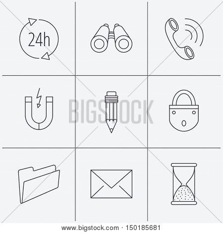 Phone call, pencil and mail icons. Search, 24h support and folder linear signs. Hourglass, magnet energy flat line icons. Linear icons on white background. Vector