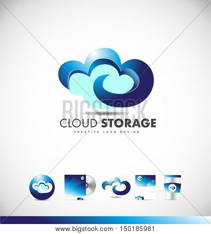 Cloud computing storage data hosting vector logo icon sign 3d design template corporate identity
