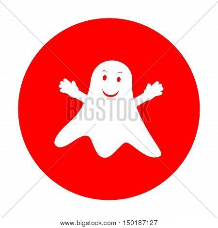 Ghost Isolated Sign. White Icon On Red Circle.