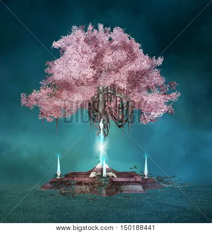 Pink fantasy and powerfull tree - 3D illustration