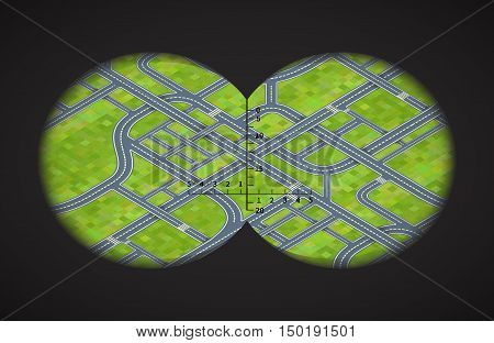 View from the binoculars with metrics on difficult road junctions in isometric view