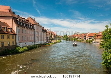 Bamberg Germany - May 22 2016: Regnitz river or