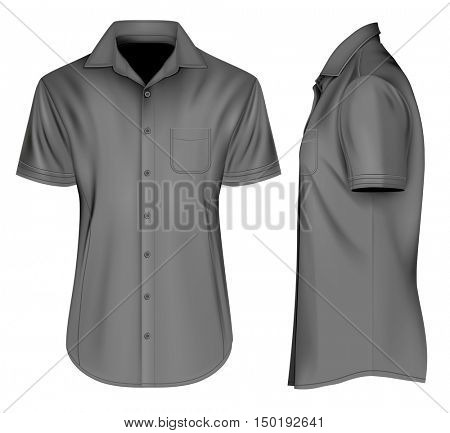 Men's short sleeved formal button down shirts with open collar, front and side views. Fully editable handmade mesh, Vector illustration.