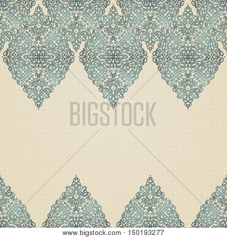 Vintage seamless border with lacy ornament. Brocade background. You can place your text in the empty place. It can be used for decorating of invitations greeting cards decoration for bags.
