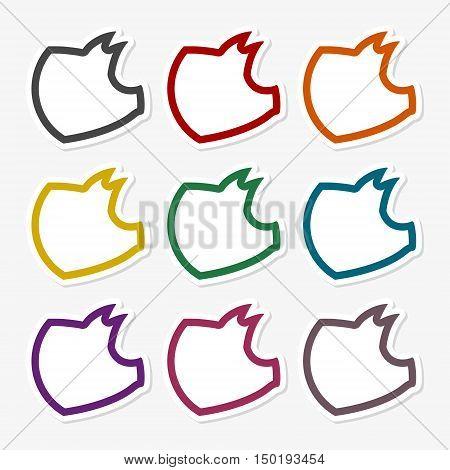 Pig logo, Pig line icons set on gray background