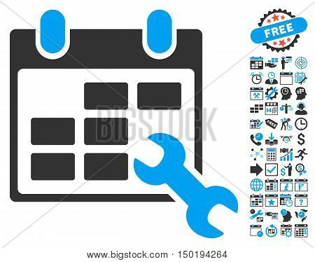 Configure Timetable pictograph with bonus calendar and time management graphic icons. Vector illustration style is flat iconic bicolor symbols, blue and gray colors, white background.
