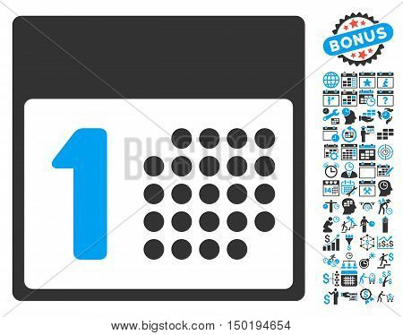 First Day pictograph with bonus calendar and time management design elements. Vector illustration style is flat iconic bicolor symbols, blue and gray colors, white background.