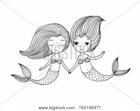 Two little cartoon mermaid. Siren. Sea theme.Hand drawn vector illustration on a white background.