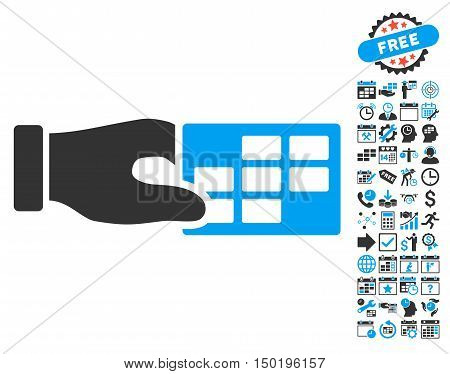 Timetable Properties Hand pictograph with bonus calendar and time management pictograph collection. Vector illustration style is flat iconic bicolor symbols, blue and gray colors, white background.
