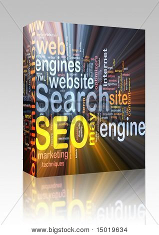 Software package box Software package box Word cloud concept illustration of SEO Search Engine Optimization