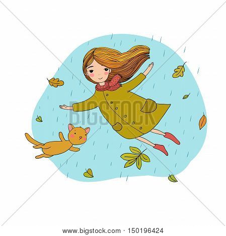Beautiful little girl and a cute cartoon cat flying with autumn leaves. Hand drawing isolated objects on white background. Vector illustration.