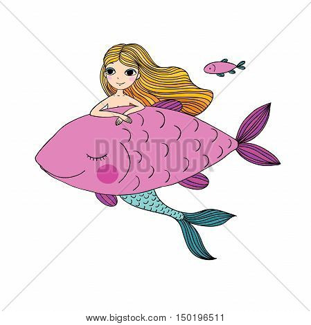 Beautiful little mermaid and big fish. Siren. Sea theme.Hand drawn vector illustration on a white background.