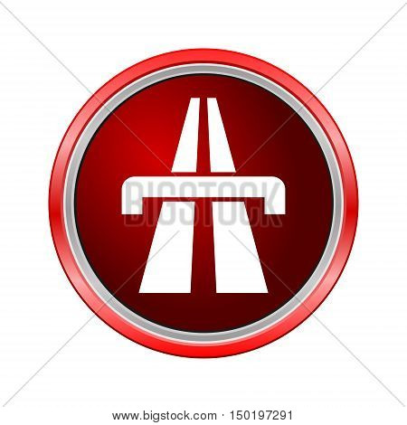 Highway icon, Internet button on white background