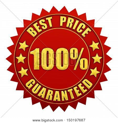 100 percent best price guaranteed red and gold warranty label isolated on white , 3d illustration