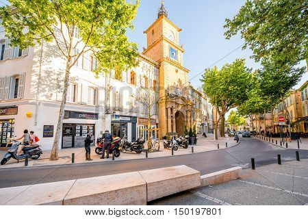 Salon-de-Provence, France - June 17, 2016: View on the street with old city gate or clock tower in Salon-de-Provence
