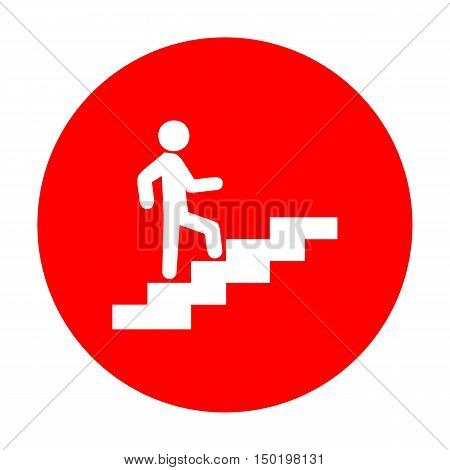 Man On Stairs Going Up. White Icon On Red Circle.