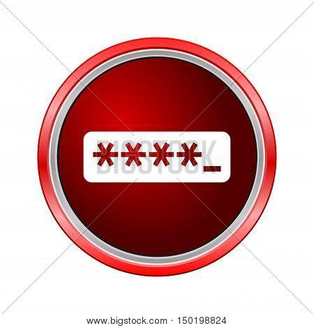 Password typing icon, Internet button on white background