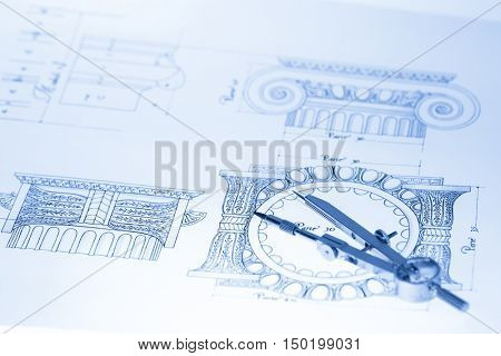 drawings ofdrawings of architectural details - columns element & compass architectural details - columns element, and & compass