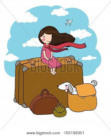 Little girl and big bags. The dog and the plane. Traveler. Hand drawing isolated objects on white background. Vector illustration.