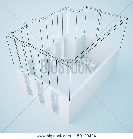 Unfinished construction plan on light background. Engineering concept. 3D Rendering