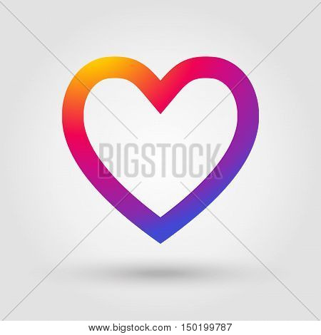 Heart icon, Heart label, Hert button, Heart tag, Heart love symbol, Heart on gray background with shadow. Heart Instagram. Vector illustration.