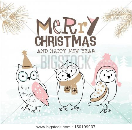 Hand drawn Christmas card with cute little owls