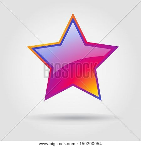 Star, Star icon Instagram. Icon star, icon star label. Star isolated. Star with shadow on grey background icon. Icon Vector illustration. Star tag, gift, sign, flat, info, symbol, button, banner, object.
