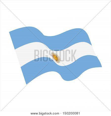 Vector illustration wavy flag of Argentina. Argentina flag icon