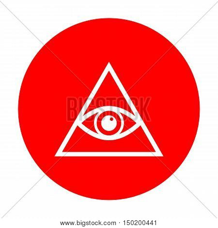 All Seeing Eye Pyramid Symbol. Freemason And Spiritual. White Icon On Red Circle.