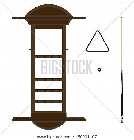 Vector illustration wooden wall cue rack for billiard pool game Cue or stick triangle and ball