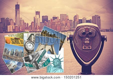 Coin operated binocular with Lower Manhattan on the background is in the right side of the picture. Set of photos from New York City are in the left side of the picture. Photo is edited as Nashville effect picture.