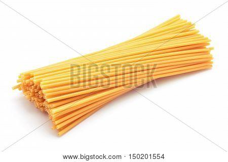 spaghetti bucatini pasta studio isolated on white background