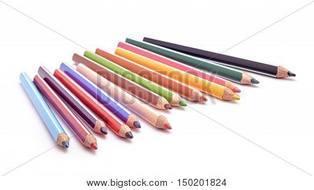 colored crayons studio isolated on white background