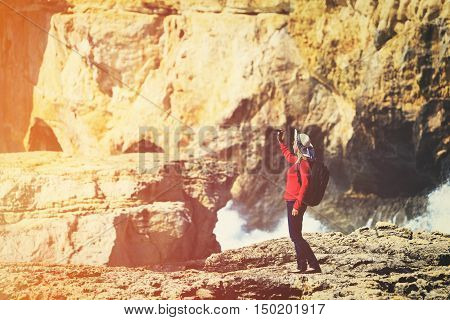 travel concept- young woman making selfie in beautiful nature, Gozo, Malta