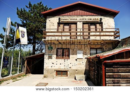 BOSNIA AND HERZEGOVINA SARAJEVO - AUGUST 28: War Tunnel Museum building in Sarajevo on August 28 2015. The tunnel was built in 1993 to protect civilians during the siege of the city of Sarajevo by serbian army.