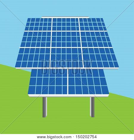 Vector illustration solar panel icon. Photovoltaic electric solar panel. Renewable energy. Ecology energy