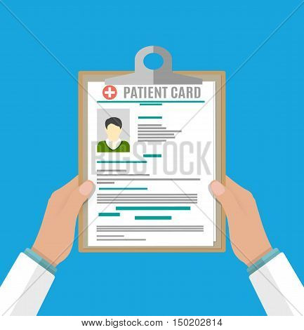 Clipboard in doctors hand. patient card. medical report. analysis or prescription concept. vector illustration in flat style