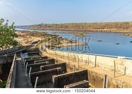 The Pak Mun Dam constructed on the Mun Rivera tributary of the Mekong River in Ubon Ratchathani ProvinceThailand.