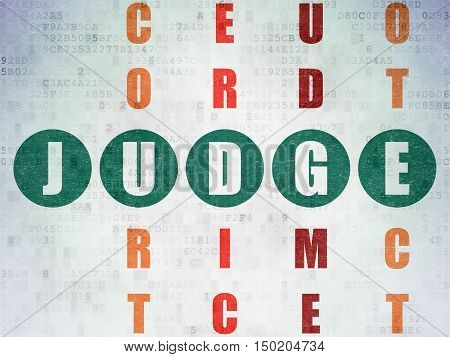Law concept: Painted green word Judge in solving Crossword Puzzle on Digital Data Paper background