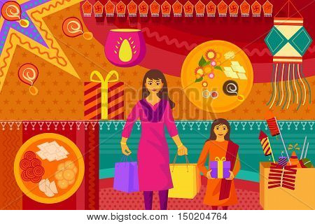 vector illustration of Indian lady with gift for  Happy Diwali festival background kitsch art India