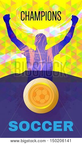 Digital vector, abstract winner sportman champions with hands in the air, ball, flat style