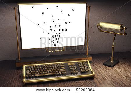 Close up of vintage typing machine and miscellaneous letters on paper. Information concept. 3D Rendering