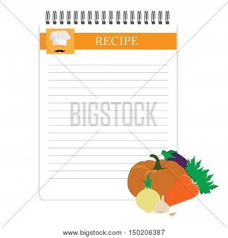 Recipe card. Kitchen note blank template vector illustration. Cooking notepad with vegetables