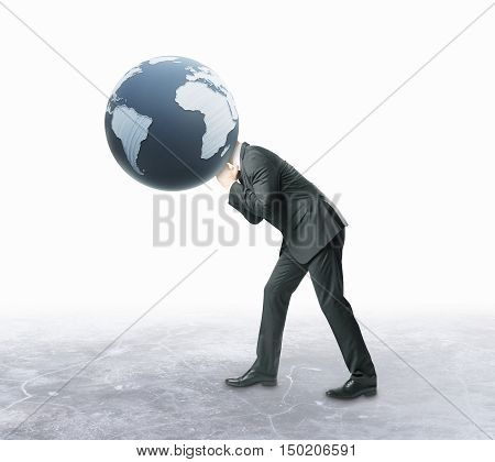 Businessman with terrestrial globe instead of head on white background. 3D Rendering. Global business concept