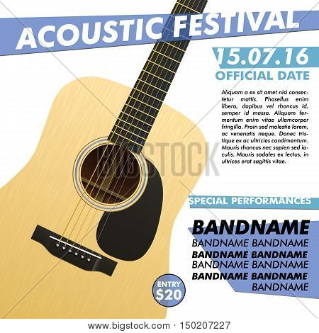Acoustic night performance poster in your club Indie musician concert show poster with realistic acoustic guitar realistic guitar