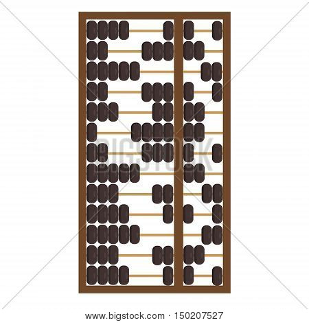 Vector illustration wooden abacus with black beads. Traditional counting frame. Abacus icon