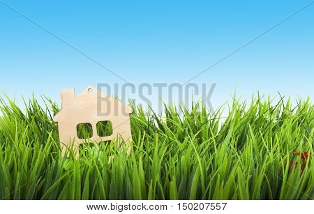 Toy wooden house in green grass over the blue sky