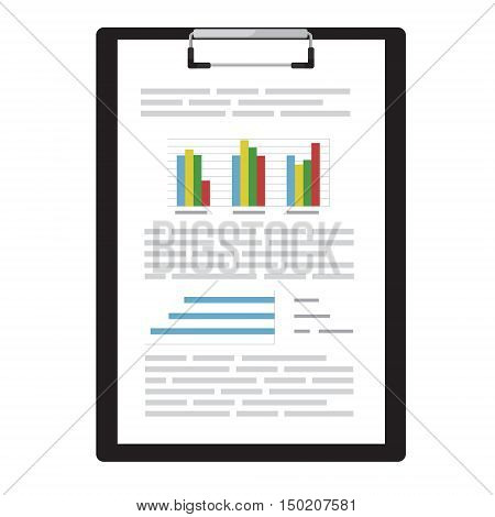 Vector illustration on report business report with graphs on black clipboard. Report icon