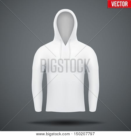 White Hoodie design templates. Front view. Editable Vector illustration Isolated on background.