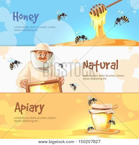 vector horisontal banners set of Apiary symbols. Bee, honey, bee house, honeycomb. Emblem of Man beekeeer in costume. beehive, wax.